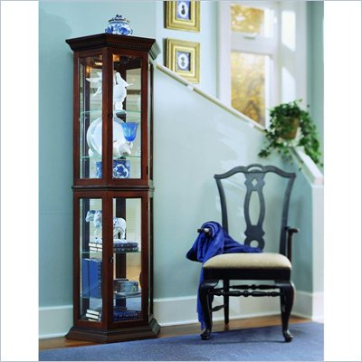 Pulaski Nut Brown II Bay Window Curio Cabinet