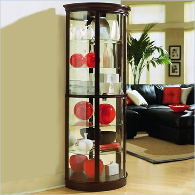 Pulaski Chocolate Cherry II 32 Inch Wide Half Round Curio Cabinet