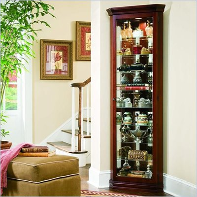 Pulaski Victorian Cherry 80 Inch Tall Corner Curio Cabinet