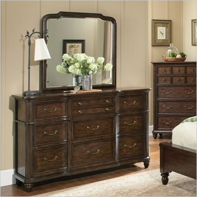 Pulaski Saddle Ridge Dresser and Mirror Set in Aged Pecan