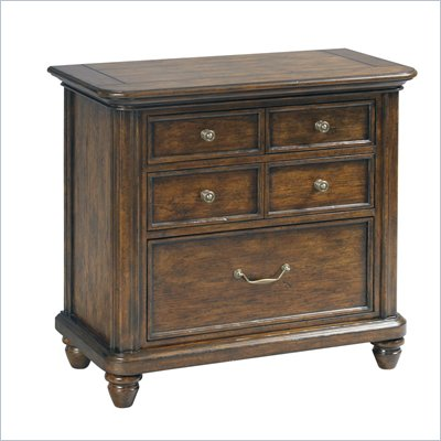 Pulaski Saddle Ridge Bedside Chest in Aged Pecan Finish