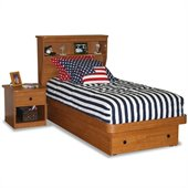 Berg Furniture Sierra Twin Platform Bed with Bookcase Headboard
