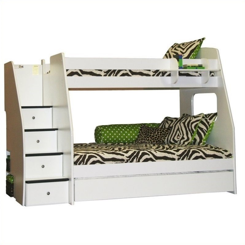 White Twin Over Full Bunk Bed with Trundle 800 x 800