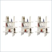 Berg Furniture Ladder 3 Shelf Wall Bookcase in White