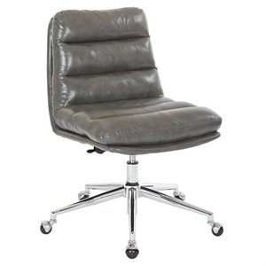 Avenue Six Legacy Faux Leather Swivel Armless Office Chair in Pewter