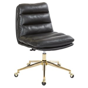 Avenue Six Legacy Faux Leather Swivel Armless Office Chair in Black