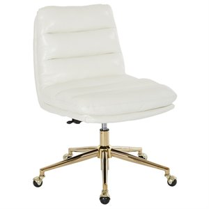 Avenue Six Legacy Faux Leather Swivel Armless Office Chair in White