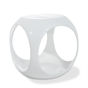 Avenue Six Slick Cube Modern Occasional Table in White