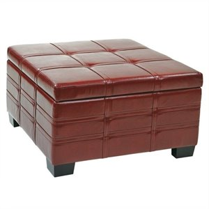 Avenue Six Detour Strap Ottoman with Tray in Crimson Red Leather