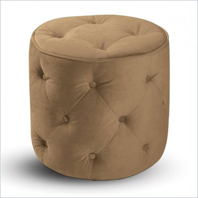 Avenue Six Curves Tufted Round Ottoman in Coffee Velvet
