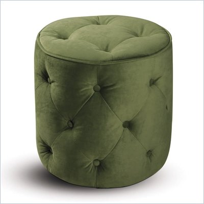 Avenue Six Curves Tufted Round Ottoman in Spring Green Velvet