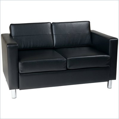 Avenue Six Pacific Loveseat in Black Faux Leather / Vinyl