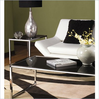 Avenue Six Yield Black Glass Top Coffee Table Set