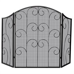 Uniflame 3 Panel Black Wrought Iron Screen with Decorative Scroll