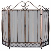 Uniflame 3 Fold Venetian Bronze Screen with Bowed Bar Scrollwork