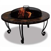 Uniflame Wood Burning Steel Outdoor Fireplace with Slate Mantel