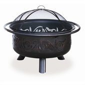 Uniflame Wood Burning Bronze Outdoor Fire Pit with Swirl Cut Out Design