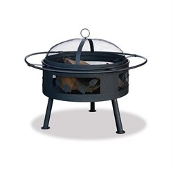 Uniflame 21.6 Inch Wide Aged Bronze Wood Burning Fire Pit with Leaf Design