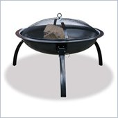 Uniflame Black Outdoor Wood Burning Metal Fire Pit with Folding Legs