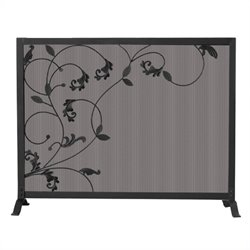 Uniflame Single Panel Black Screen with Flowing Leaf Design