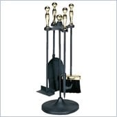 Uniflame 5 Piece Polished Brass/Black Stoveset