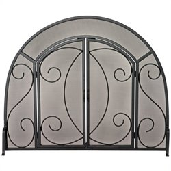 Uniflame Single Panel Black Wrought Iron Ornate Screen With Doors