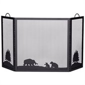 Uniflame Deluxe 3 Panel Black Wrought Iron Screen With Hunting Bear Scene