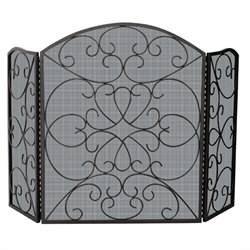 Uniflame 3 Fold Bronze Screen With Scroll Design