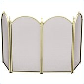 Uniflame 4 Fold 25 Inch Height Mini Polished Brass Screen