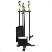 Uniflame 4 Piece Polished Brass/Black Fireset With Ball Handle