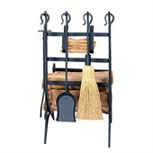 Uniflame Black Log and Kindling Rack with Firetools