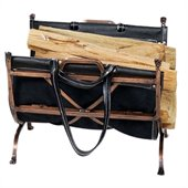 Uniflame Antique Copper Wrought Iron Log Holder with Black Leather Carrier