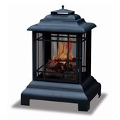 Uniflame Black Two Sided Outdoor Fireplace