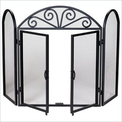 Uniflame 3 Fold Wrought Iron Screen with Opening Doors