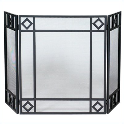 Uniflame 3 Fold Black Wrought Iron Screen with Diamond Design