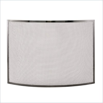Uniflame Single Panel Curved Pewter Fireplace Screen