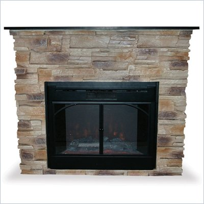 Uniflame Indoor Free Standing Electric Fireplace with Black Marble Mantle