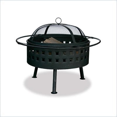 Uniflame 24 Inch Aged Bronze Wood Burning Fire Pit with Square Design