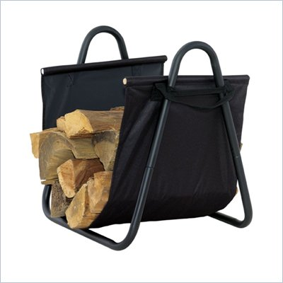 Uniflame Black Log Holder with Heavy Canvas Carrier