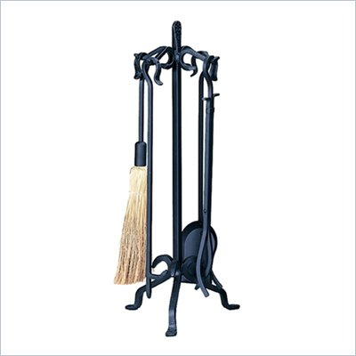 Uniflame 5 Piece Heavy Weight Black Wrought Iron Fireset