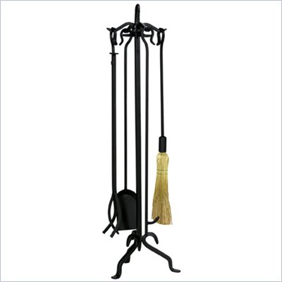 Uniflame 5 Piece Black Wrought Iron Extra Tall Fireset