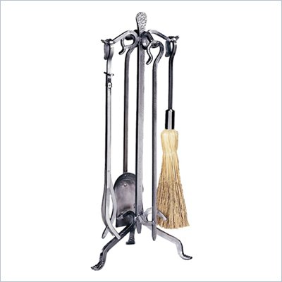 Uniflame 5 Piece Pewter Wrought Iron Fireset with Crook Handle