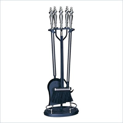 Uniflame 5 Piece Brushed Nickel and Black Fireset
