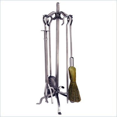 Uniflame 5 Piece Stainless Steel Fireset with Crook Handles