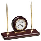 Howard Miller Rosewood Desk Set Tabletop Clock