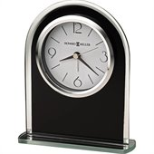 Howard Miller Ebony Luster Table Desk Clock in Black and Silver