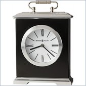 Howard Miller Revere Table Desk Clock in Black Satin and Silver