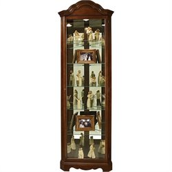 Howard Miller Murphy Corner Curio Cabinet in Cherry Bordeaux