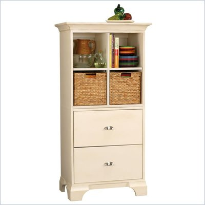 Howard Miller Ty Pennington Ella Storage Cabinet with Basket in Antique Vanilla