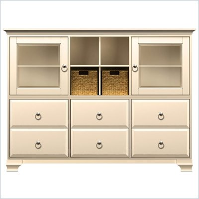 Howard Miller Ty Pennington Molly Storage Cabinet in Antique Vanilla and Nickle